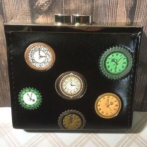 NWT Antique Clock Coin Purse - Black - Kiss Lock